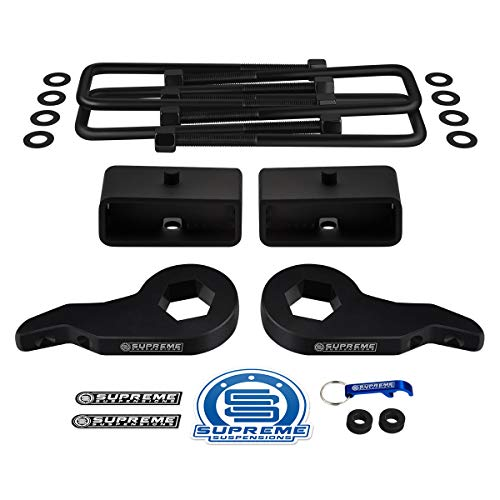 "Supreme Suspensions - Full Lift Kit for 1999-2007 Chevrolet Silverado and GMC Sierra 1500 4WD Adjustable 1"" - 3"" Front Lift Steel Max-Torsion Keys + 2"" Rear Lift Blocks + Square Bend U-Bolts (Black)"