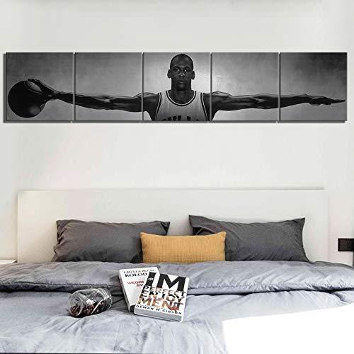 unknow Breeze Gedruckte Leinwand Poster Wandbild, Michael Jordan Wings Basketball Star Canvas Poster Vintage-Stil, 40x40cm(5pcs) kein Rahmen