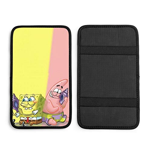 ZLCMMF Auto Center Console Pad Spongebob Squarepants with Friends Waterproof Car Armrest Seat Box Cover Protector Universal Fit Most Vehicle, SUV, Truck, Car