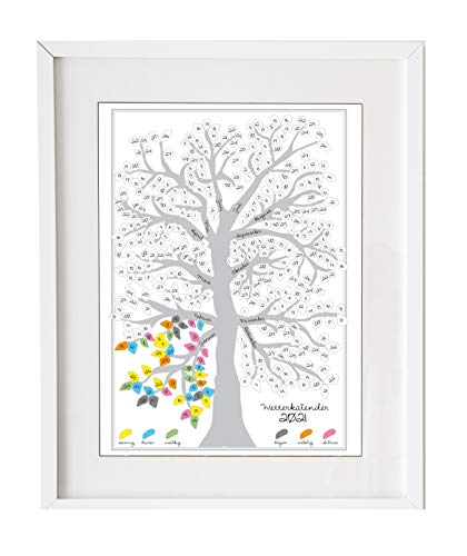 Wetterbaum als Jahreskalender 2021 - Kunstdruck zum selber Ausmalen. Im Laufe des Jahres entsteht ein bunter Wetterbaum