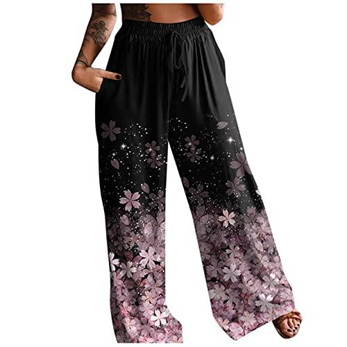 URIBAKY - Pantalones de mujer con estampado de cintura alta, pantalones bohemios para mujer, A-rosa, L