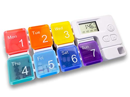 Electronic Pill Dispensers, Electronic Pill Boxes, Digital Pill Organizer, Electronic Pill Organizers, Weekly Pill Box with AM/PM Automatic Alarm Reminder, Portable 7-Day Travel Pill Dispenser-OROCKO