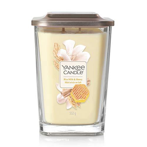 Yankee Candle Grande bougie parfumée carrée à 2 mèches avec couvercle plateforme, collection élévation, lait de riz et miel, jusqu'à 80 heures de combustion