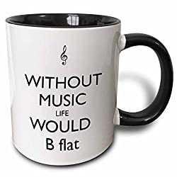 without music life would be flat musical mug