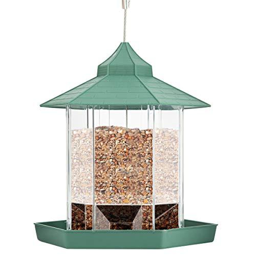 SOONHUA Comedero para Pájaros Comederos para Semillas de Pájaros de Jardín Plástico Transparente para Todo Clima Comedero para Pájaros Silvestres Contenedor de Semillas