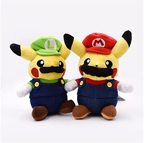 adfw 2 Uds Super Mario Pikachu Juguete De Felpa Lindo Pikachu Cosplay Mario Muñecos De Peluche Suave Regalo De Cumpleaños para Niños 23Cm