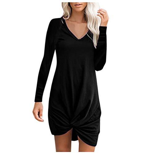 Inawayls Damen Einfaches Kleider Basic Casual Freizeit Kleider Langarm Shirt Falten Hem Lose Tunika Top Kleider