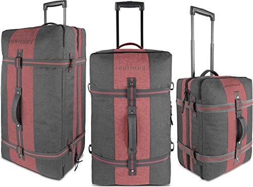 normani Reisetasche - Trolley in 3 Größen : 45, 90 und 125 Liter Volumen - Handgepäck Größe 45 Liter Farbe Dunkelgrau/Rot Größe 90 Liter