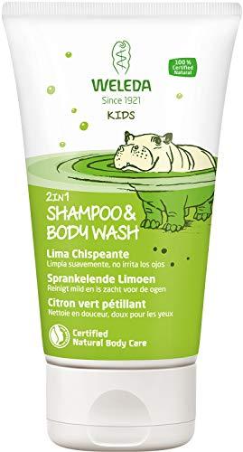 WELEDA Kids 2in1 Shower & Shampoo Spritzige Limette, Naturkosmetik Duschgel und Bodylotion zur schonenden Reinigung von Haut und Haar, geeignet für Kinder ab drei Jahren (1 x 150 ml)