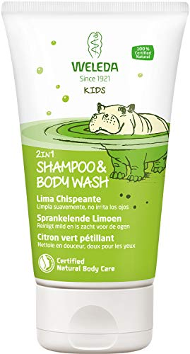 Weleda Kids 2in1 Shower & Shampoo Spattige limoen, natuurlijke cosmetica douchegel en bodylotion voor zachte reiniging van huid en haar, geschikt voor kinderen vanaf drie jaar (1 x 150 ml)