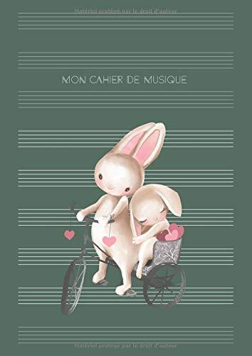 Mon Cahier de Musique: Partitions de musique pour l'école, leçons et passe-temps | DIN A4 avec table des matières | bonne décision pour les débutants - Motif: deux lapins sur le vélo