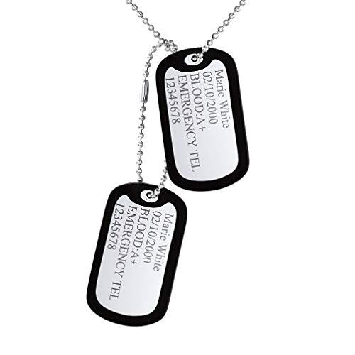Custom4U Edelstahl Militärischen Erkennungsmarken mit Silikon Hülle Zwei Stücke Gleich Silber Dog Tag Halskette mit Kugelkette Personalisiert Herrenkette Männer Anhänger 60cm Lange