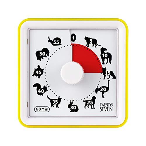 Temporizador de cuenta regresiva para niños, temporizador visual de 60 minutos, herramienta de gestión del tiempo, temporizador de examen, temporizador de cocina, movimiento silencioso, amarillo
