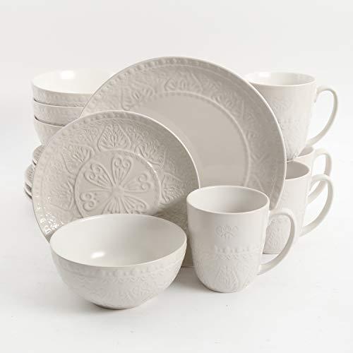 Gibson Milanto 16-Piece Dinnerware Set Featuring Embossed Reactive Glaze Stoneware, Plates, Bowls & Mugs, Cream
