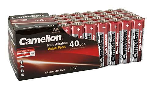 Camelion 11104006 Plus Alkaline Batterie LR06 (Mignon, AA, 40er-Pack) rot/gold