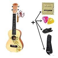 23 ウクレレコンサートアコースティックギタースモールギター弦楽器とローズウッド指板トウヒの木電気ウクレレピックアップ EQ,Uku with all parts,23インチ