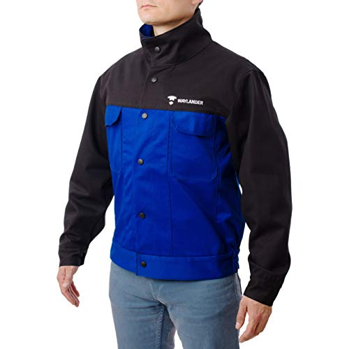 Waylander Flame Resistant FR Cotton Welding Jacket with Snap Button Front and Wrist Closures - Black/Blue (MEDIUM)