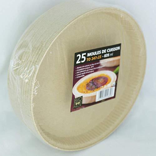 zi pac Bio Food Pack Einwegbackformen, kompostierbar, öko, umweltfreundlich, rund, 246mmx23mm, 835ml, 25 Stück