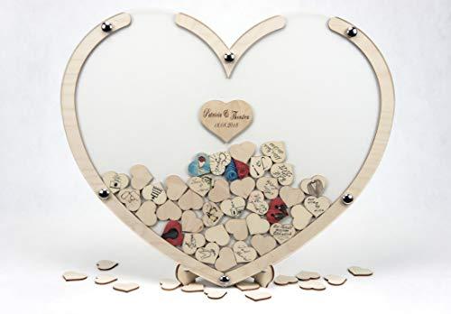 Laserano Hochzeit Gästebuch Alternative Holz-Herz – Personalisierbar – Wunschgravur