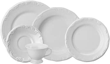 Serviço de Jantar e Chá 20 peças em Porcelana. Modelo Redondo com Relevo Pomerode. Branca. Fabricado pela Schmidt.