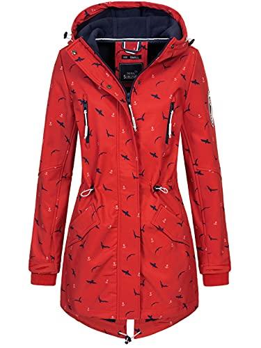 Sublevel Damen Softshell-Jacke Kurzmantel Dots - Anker - Birds - Alloverprint Bright red L