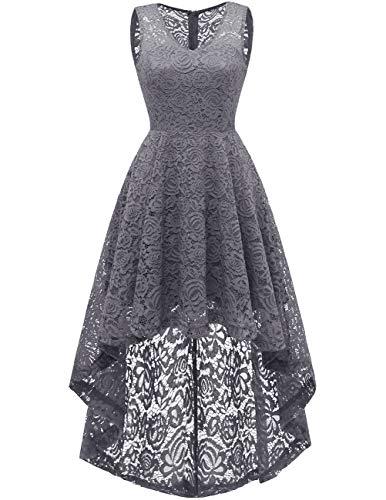 DRESSTELLS Women's Homecoming Dress V-Neck Floral Lace Hi-Lo Cocktail Party Dress Grey L