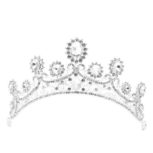 Qiuxiaoaa Haarkrone Für Frauen Hochzeit-Hochzeit Braut Tiara Strass Crown Prom Pageant Haar Stirnband Zubehör
