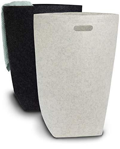 Elwin Neiles® ☀️ [80L/2er SET] Designer Wäschekorb aus stilvollem Filz - Faltbarer Wäschesammler mit Griffen & Magnetverschluss - Wäschesack
