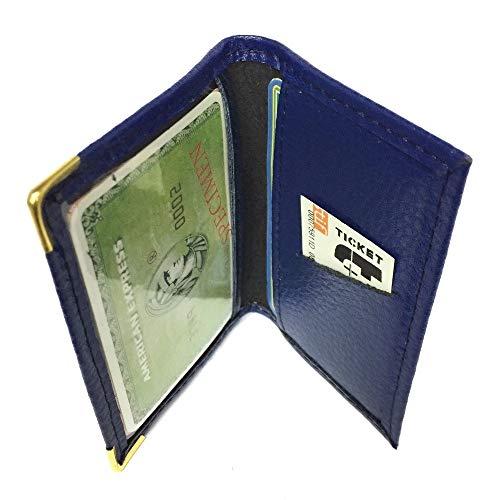 LOLUNA® Porte-carte simple 1 à 2 carte compact en cuir existe en plusieur couleur pour homme et femme (Bleu Marine)