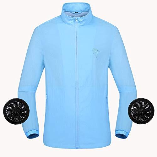 Kühlmantel Sommer-Ventilator intelligente Klimaanlage Kleidung Kühlsoftshell wasserdichte Jacken Herren Wandern Angeln Windjacke Outdoor-Camping JFCUICAN (Color : Sky Blue, Size : XXXL)