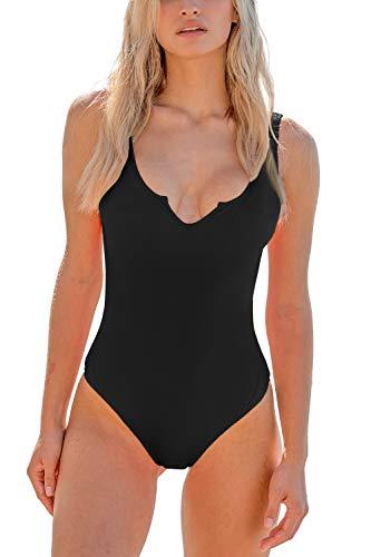 MELYUM Sport One Piece Swimsuit for Women High Cut Tummy Control Bathing Suits Low Back V Neck Swimwear Black