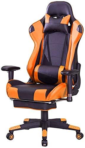 YONGYONGCHONG Silla de oficina para juegos, silla de oficina con brazos, silla reclinable para computadora con reposapiés (color naranja)