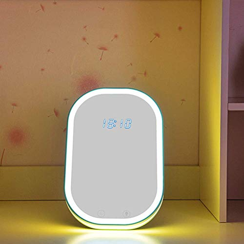 Tafellamp, klok, make-upspiegel, tafellamp met spraakbediening, nachtlampje, klok, kan aan de muur worden gemonteerd