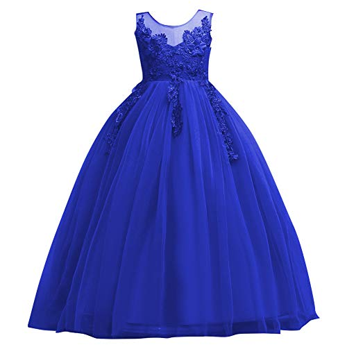 Flower Girl Lace Dress for Kids Wedding Bridesmaid Pageant Party Prom Formal Ball Gown Princess Puffy Tulle Dresses Royal Blue 13-14 Years