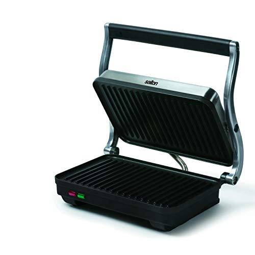 Salton Electric Panini Press Grill, 710 inch, Stainless Steel/Black