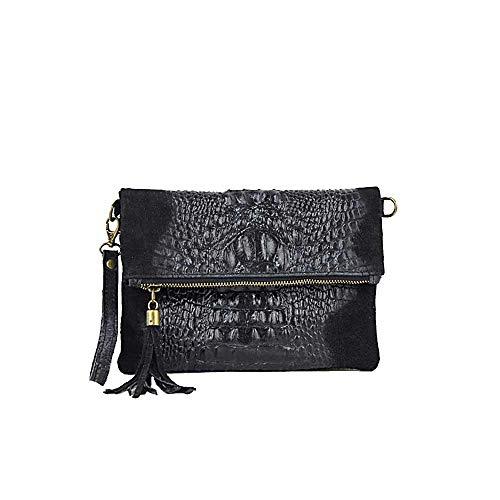 OBC Made in Italy Damen echt Leder Clutch Tasche Kroko Wildleder Handtasche Umhängetasche Ledertasche Schultertasche Fransen Cross-Over Schwarz