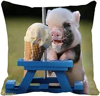 inget märke tekopp-gris äter glass förtjusande dekorativ prydnadskudde överdrag för soffa soffa säng vardagsrum
