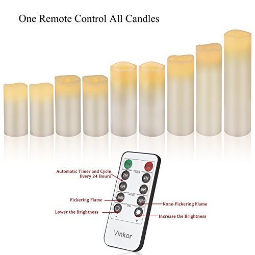 """Vinkor Flameless Candles Battery Operated Candles 4"""" 5"""" 6"""" 7"""" 8"""" 9"""" Set of 9 Ivory Real Wax Pillar LED Candles with 10-Key Remote and Cycling 24 Hours Timer"""