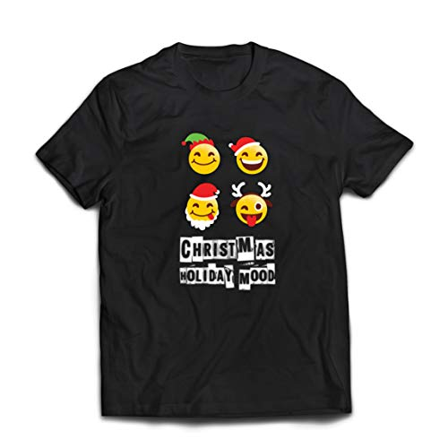 lepni.me Camisetas Hombre Navidad Fiesta Estado de ánimo Emoción Divertida Santa, Elfo, Reno (XXX-Large Negro Multicolor)