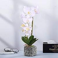 Alicemall Flores Artificiales Flor Mariposa con Maceta Blanco Decoración Hogar Artificial Planta de Flor Orquídea Mariposa Blanco