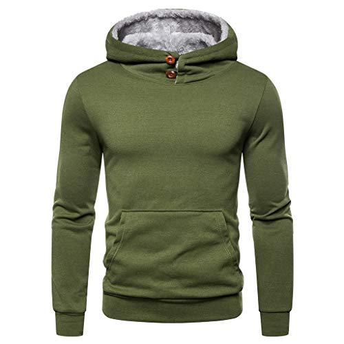 Xmiral Kapuzenpullover Herren Patchwork Einfach Langärmeliges Hoodie Sweatshirt mit Tunnelzug Herbst Sports Outdoor Tops Pullover(h Grün,XXL)