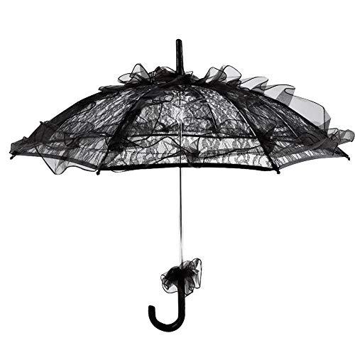 Spitzenschirm, schwarzer Spitzenschirm Spitzenschirm Sonnenschirm für Fotografie Prop/Celebration Decor/Bühnenauftritt/Tanzen, robust und langlebig