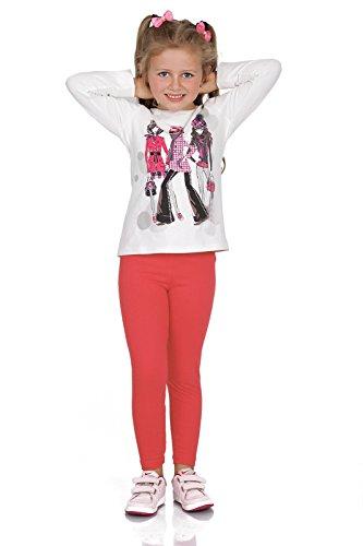 FUTURO FASHION® - Mädchen Leggings aus Baumwolle - warm & dick - lang - einfarbig - 2-13 Jahre - Koralle - 3 Jahre