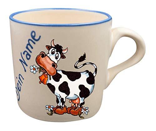 Carstens Keramik® Namenstasse Kuh Tasse mit Namen Keramiktasse - Handgefertigt in Deutschland