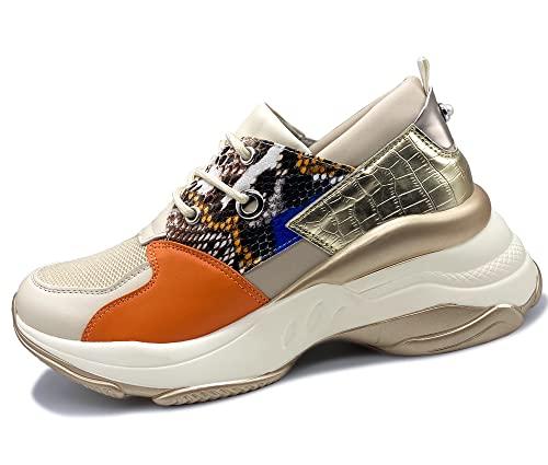 Mujer Zapatos De Moda Zapatillas Gruesas Zapatillas Informales con Cordones Zapatillas de cuña Zapatos cómodos para Caminar para Mujeres Deportes de Fitness Dorado + Naranja 38