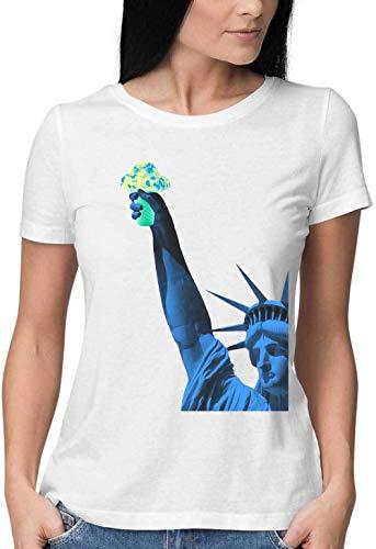 Statue of Liberty Ice Cream Round Neck Camiseta Mujer Medium