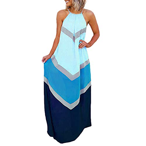 Uefaof 2019 New Sell Women's Halter Striped Colorful Patchwork Hollow Out Maxi Long Dresses Blue