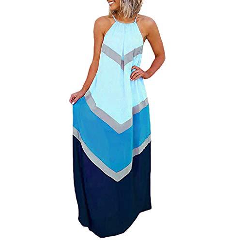 Slyar Vestido Verano Mujer 2019 Vestido De Moda De Contraste Vestido Largo con Paneles A Rayas Sin Mangas para Mujer Vestidos De Fiesta Mujer Tallas Grandes Vestido De Moda