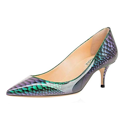 JOY IN LOVE Damen Schuhe Low Heels Spitze Zehen Kitten Heel Daily Pumps, Grün (Patent-grün-Schlangenleder), 38 EU