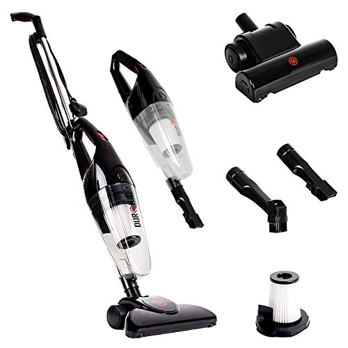 Duronic NEW VC7 Upright Stick Vacuum Cleaner Hand Held Corded HEPA Filter Bagless Stick Vac with Extra Filter Turbo Brush and 2 in 1 Crevice/Brush Tool - Convert from Upright to Hand Held In Seconds